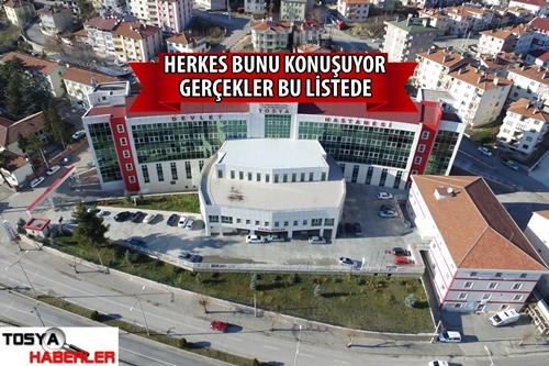 """TOSYA DEVLET HASTANESİNDE  KAÇ DOKTOR VAR """" İŞTE LİSTESİ"""""""