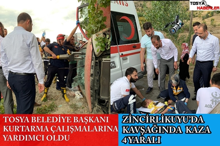 ZİNCİRLİKUYUDA TRAFİK KAZASI TOSYA BELEDİYE BAŞKANI KURTARMA ÇALIŞMALARINA YARDIM ETTİ..