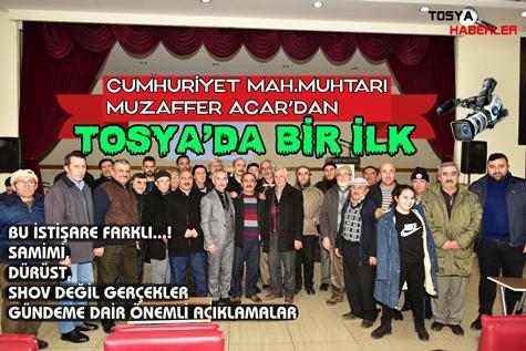 """ÖRNEK MUHTAR MUZAFFER ACAR'DAN  """"TOSYA'DA BİR İLK"""""""